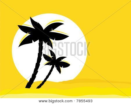 Yellow desert sunrise background with black palm tree silhouette