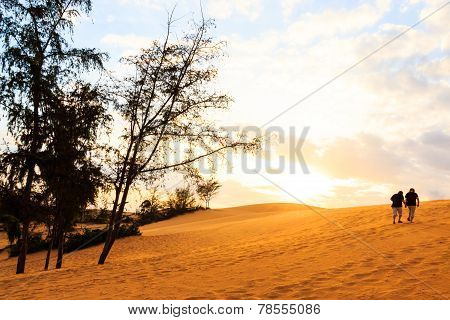 Twin Human On Mui Ne Sand Dune And Sunset