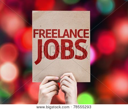 Freelance Jobs card with colorful background with defocused lights