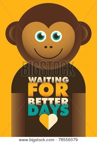 Comic poster with monkey. Vector illustration.