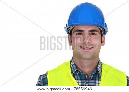 Builder wearing fluorescent jacket