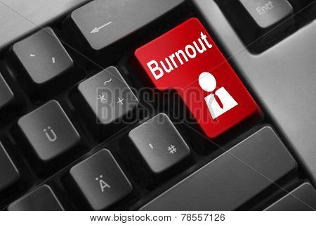 Keyboard Red Button Burnout Worker