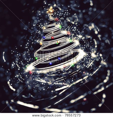 3D render of a metallic Christmas tree