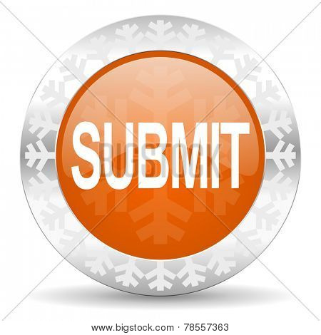 submit orange icon, christmas button