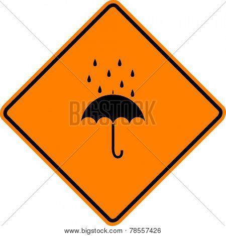 umbrella with rain sign