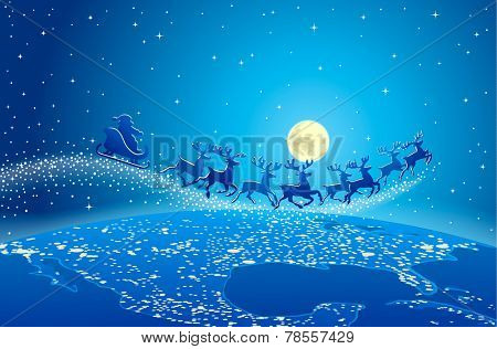 Illustration of Santa Claus and reindeer flying through starry blue sky over planet earth; Christmas scene