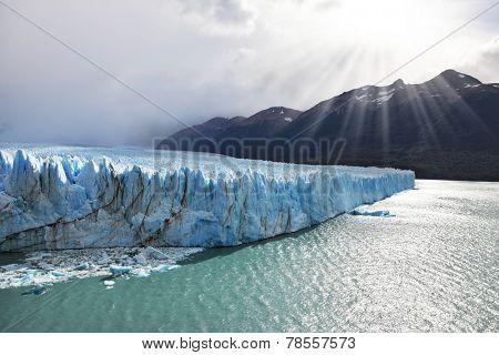 Los Glaciares National Park in Patagonia. Colossal Perito Moreno glacier in Lake Argentino. Sunny summer day