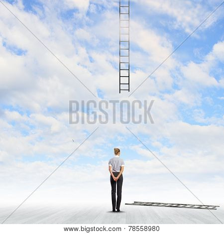 Back view of businesswoman and broken ladder in sky