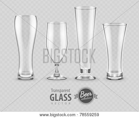 Glasses for beer drinking in pub empty set. Eps10 vector illustration, transparent objects can be placed on any background.