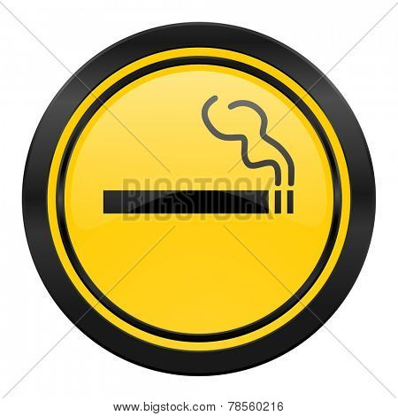 cigarette icon, yellow logo, nicotine sign
