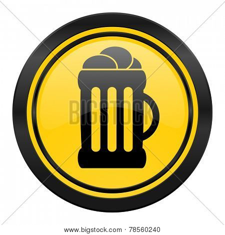 beer icon, yellow logo, mug sign