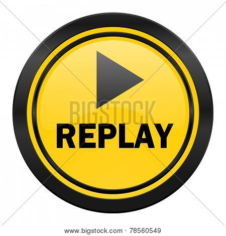replay icon, yellow logo,