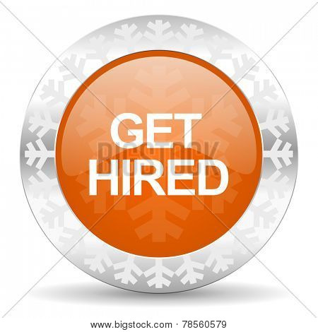 get hired orange icon, christmas button
