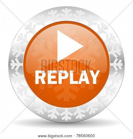 replay orange icon, christmas button