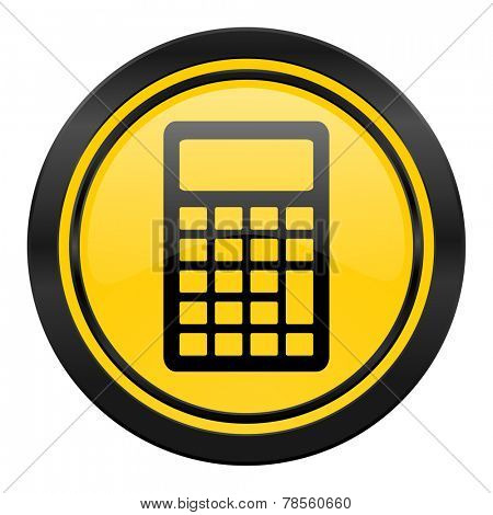 calculator icon, yellow logo,