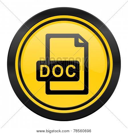 doc file icon, yellow logo,