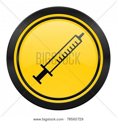 medicine icon, yellow logo, syringe sign