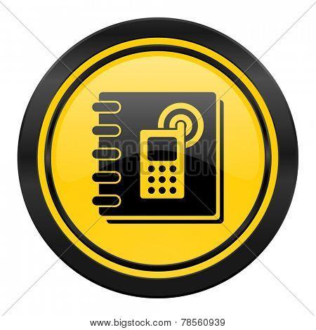 phonebook icon, yellow logo,