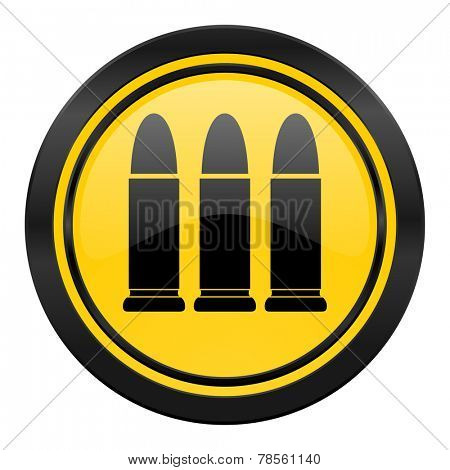 ammunition icon, yellow logo, weapoon sign
