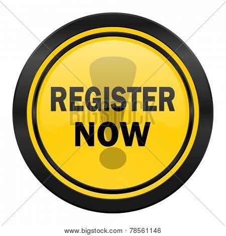 register now icon, yellow logo,