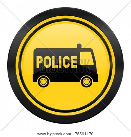 police icon, yellow logo,