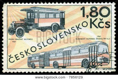 Vintage Postage Stamp. Old  Buses.