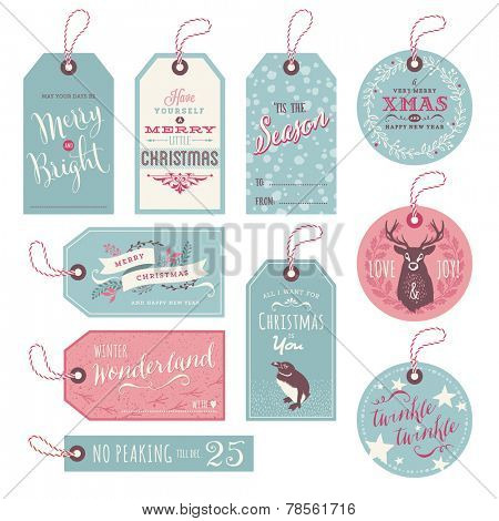 set of 10 cute christmas gift tags with hand-inked elements