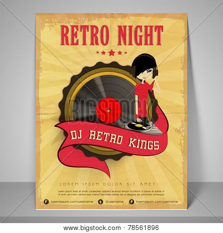 Stylish  banner or flyer for retro night with address bar and mailer.