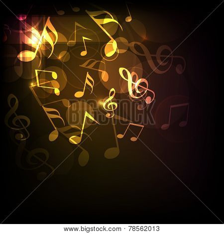 Shiny golden musical notes on dark brown background.