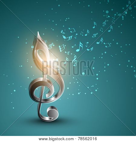 Shiny silver 3D g-clef with musical notes on sea green background.