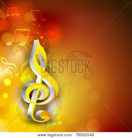 Shiny 3d g-clef with musical notes on stylish background.