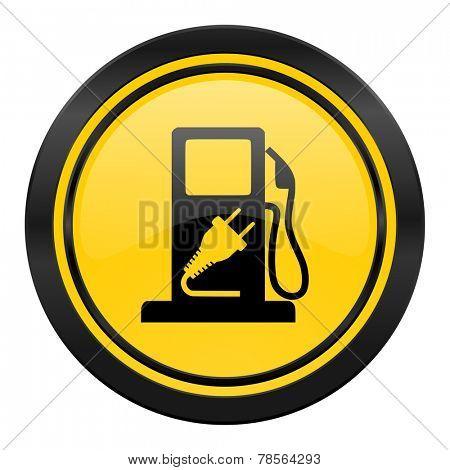 fuel icon, yellow logo, hybrid fuel sign