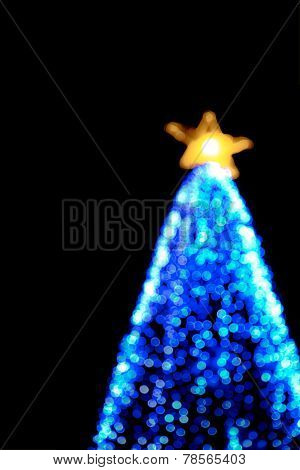 Bokeh Of Big Christmas Light Tree