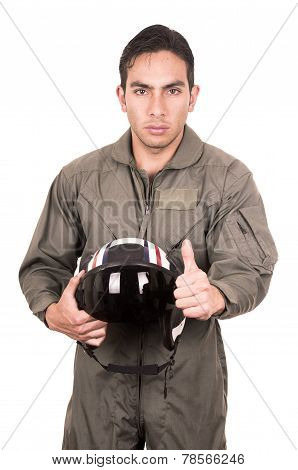 handsome young pilot wearing green uniform
