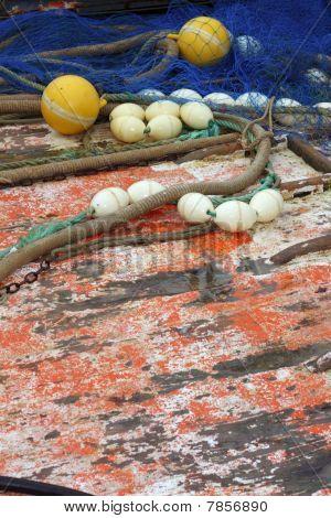 Fishermen Professional Tackle Net Boat Wood Deck