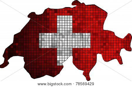 Switzerland map with flag inside