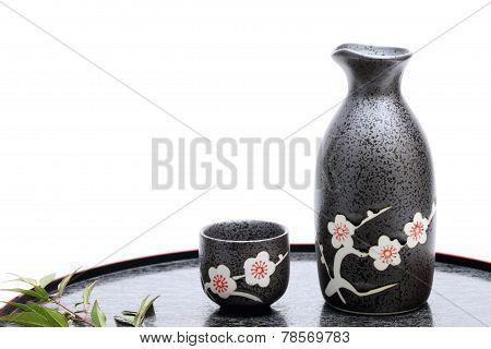 Japanese sake cup and bottle