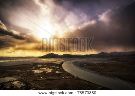 Suncheon bay sunset