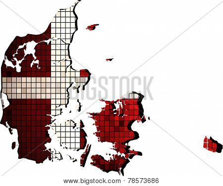 Denmark map with flag inside