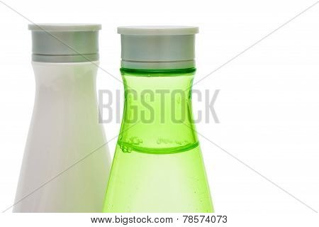 Beauty Bottles Closeup (green And White)