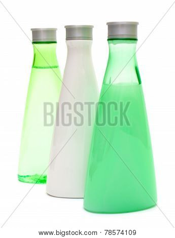Three Cosmetic Bottles (green And White)