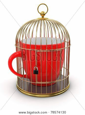 Gold Cage with Cup (clipping path included)