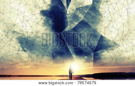 A Man Walks To The Sun Under Digital 3D Wire-frame Sky