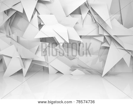 Abstract White Empty 3D Interior With Chaotic Triangle Pattern