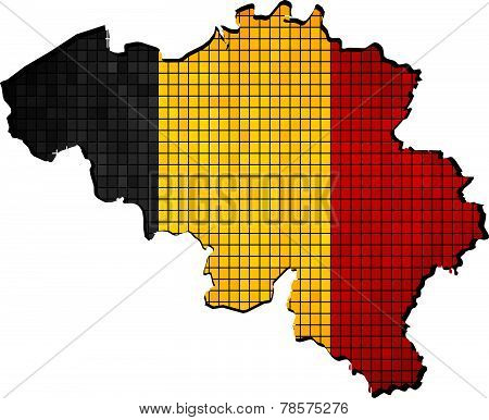 Belgium map with flag inside
