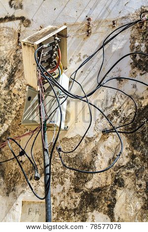 Electricity Cables Tangled In An Connection Box On The Ouside Of A Wall