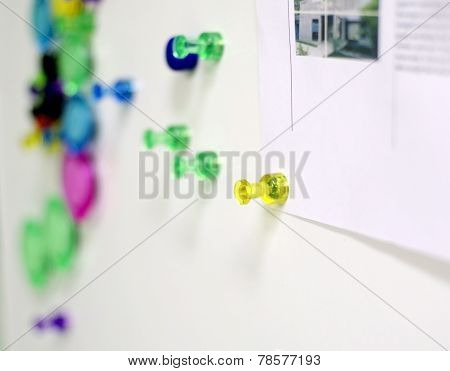 Colorful Magnet Pins On Magnet Wall In Office