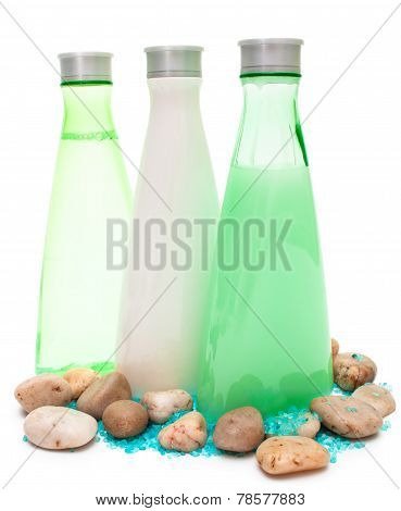 Three Spa Bottles (green And White)
