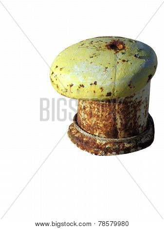 Rusty Bollard Isolated On White Background