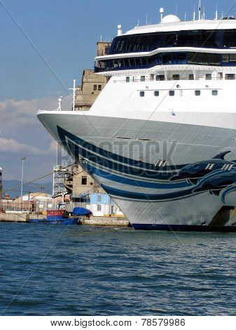 Cruise ship moored in Livorno harbor, Italy
